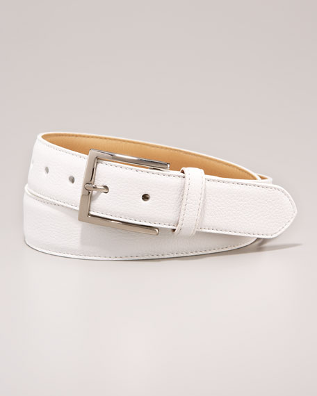 Leather Belt, White