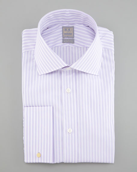 Texture-Stripe Dress Shirt, White/Lavender
