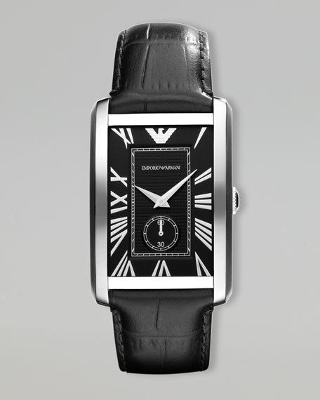 Classic Rectangular Watch, Black