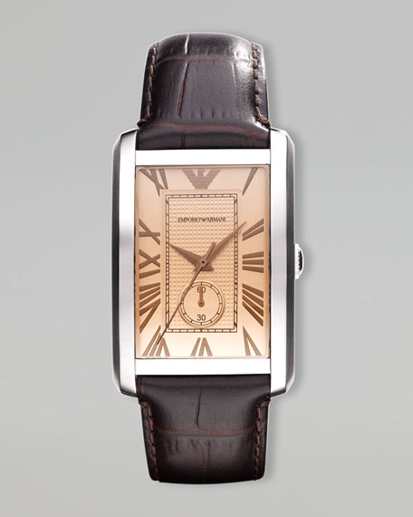 Classic Rectangular Watch, Brown