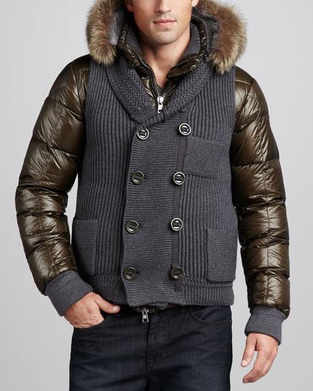 Youri Fur-Trim Hooded Bomber Jacket