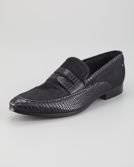 Calf Hair & Lizard-Stamped Penny Loafer