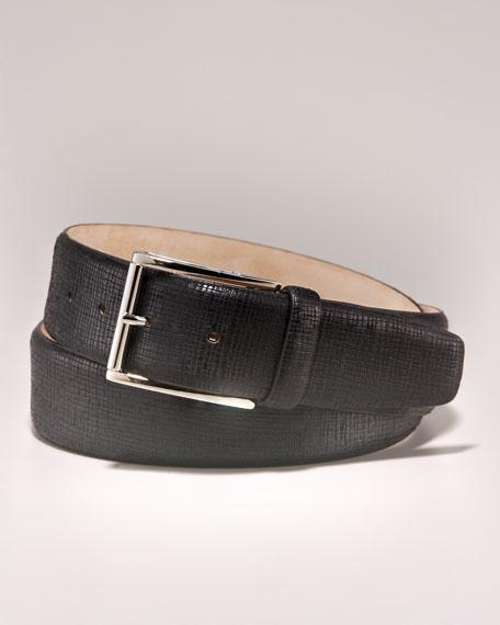 Textured Leather Belt, Black
