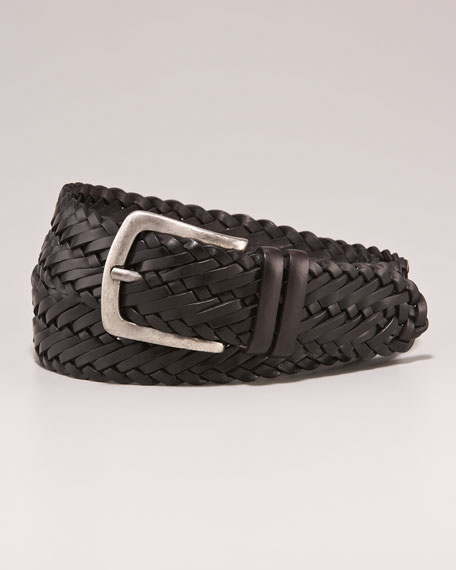 Woven Leather Belt, Black