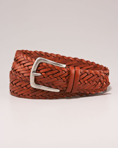 Woven Leather Belt, Brown