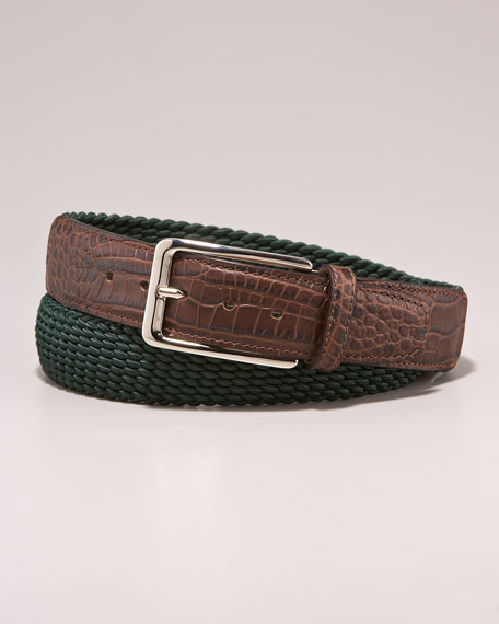 Crocodile-Embossed Belt, Green/Brown