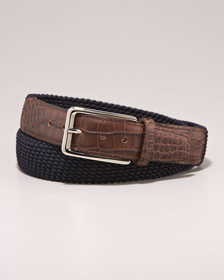 Croc-Embossed Belt, Navy/Brown
