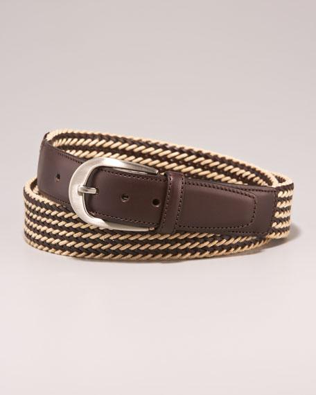 Woven Leather Belt, Beige/Brown