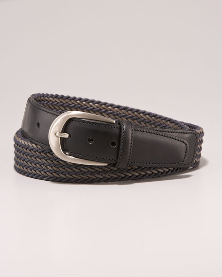 Woven Leather Belt, Gray/Taupe