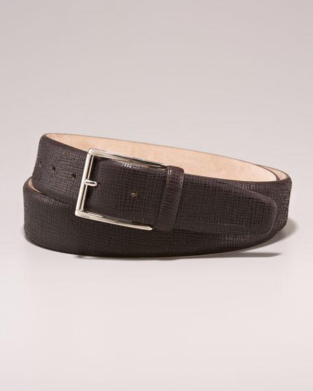 Textured Leather Belt, Brown