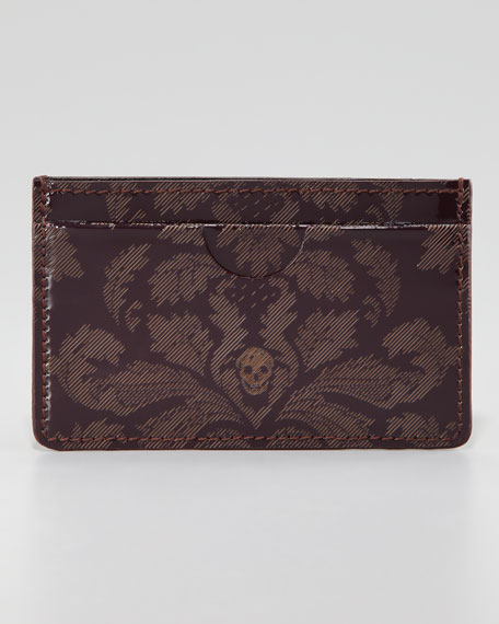 Brogue Skull Classic Card Case, Oxblood