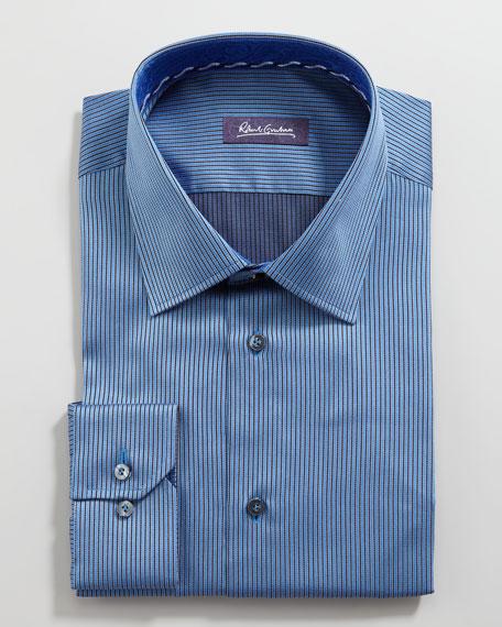 Aren Mini-Stripe Dress Shirt, Navy
