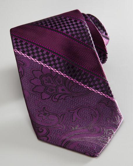 Texture-Stripe Tie, Magenta