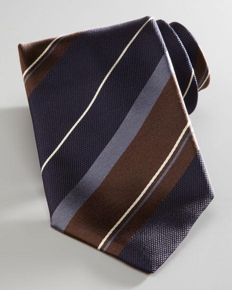 Bold-Stripe Tie, Brown/Navy
