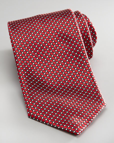 Woven Diagonal Check Tie, Red