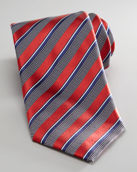 Woven Stripe Tie, Red