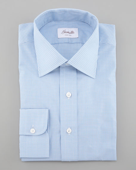 Mini-Check Dress Shirt, Blue
