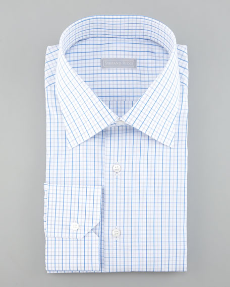 Check Dress Shirt, White/Blue