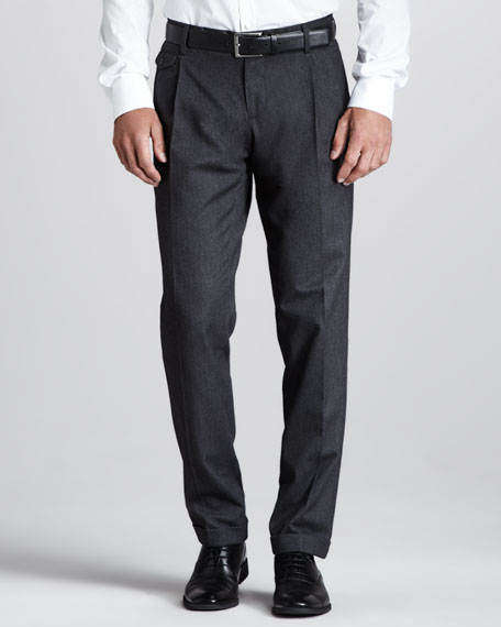 Micro-Herringbone Pants