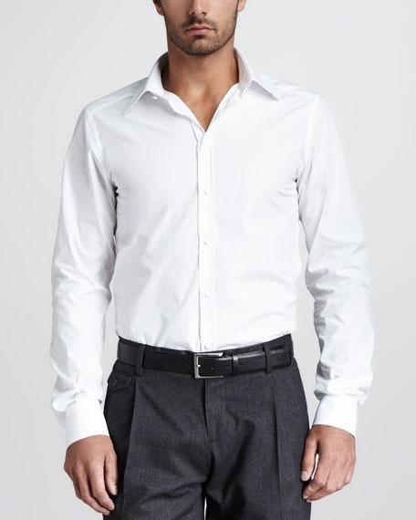 Covered-Button Dress Shirt