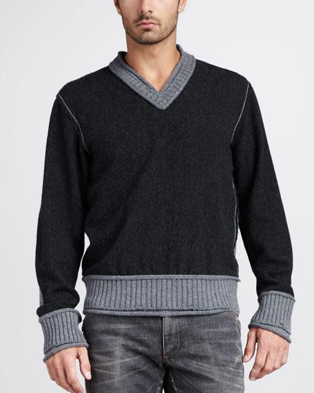 Two-Tone Raw-Edge Sweater