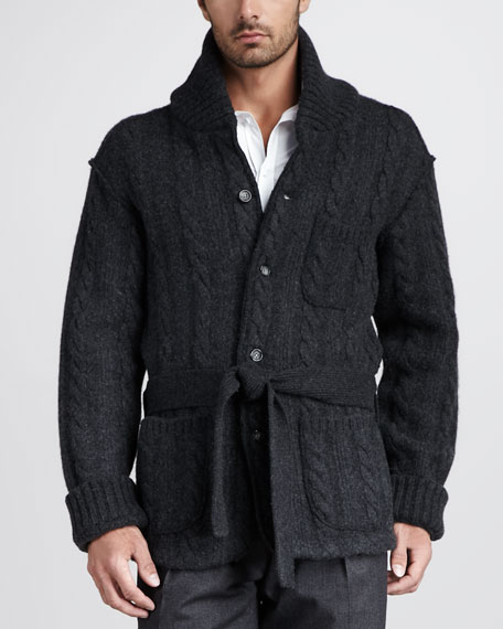 Shawl-Collar Cable Cardigan