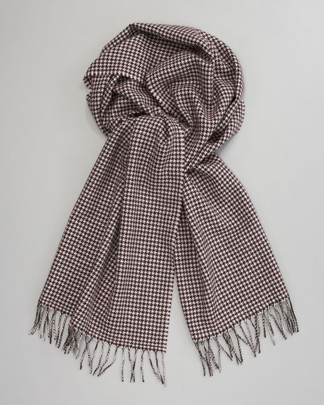 Houndstooth Wool Scarf, Wine