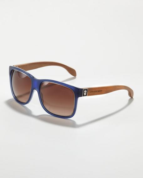 Wooden-Arm Square Sunglasses, Blue