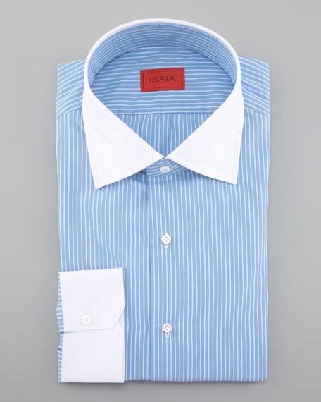 Contrast-Collar Dress Shirt, Blue
