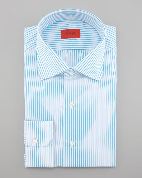 Striped Dress Shirt, White/Aqua