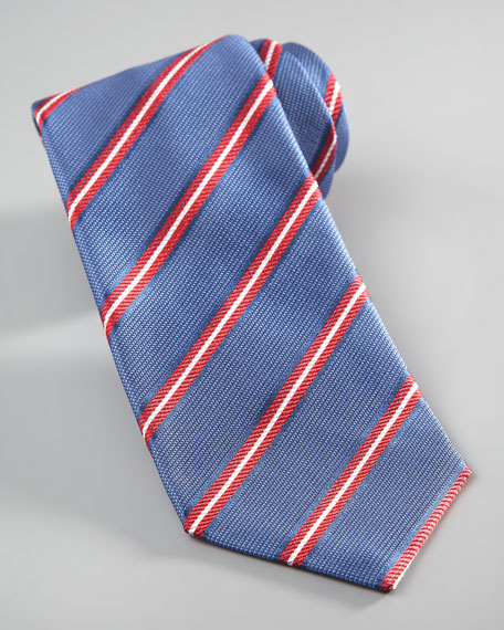 Repp-Stripe Seven-Fold Tie, Light Blue