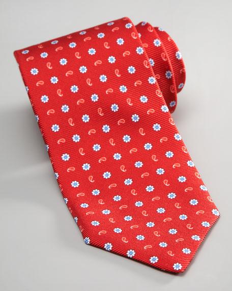 Seven-Fold Paisley & Flower Tie