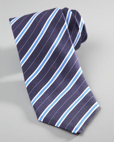 Repp-Stripe Tie, Navy
