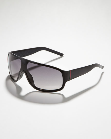 Web-Temple Shield Sunglasses, Black