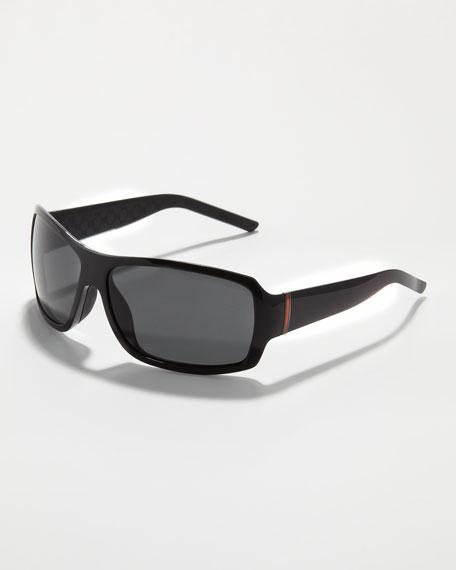 Web-Temple Rectangular Sunglasses