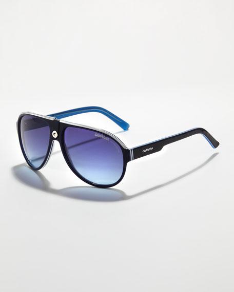 Plastic Sport Aviator Sunglasses, Blue/White