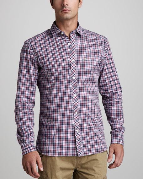 Plaid Sport Shirt, Red/Blue/Purple