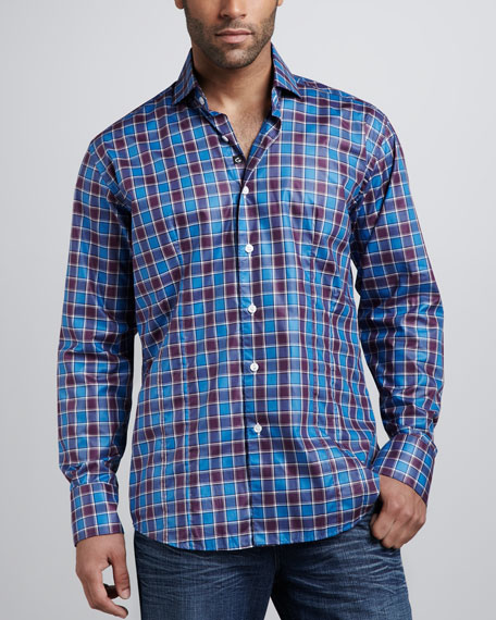 Chain Plaid Sport Shirt, Navy