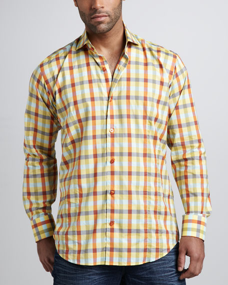 Chain Plaid Sport Shirt, Yellow