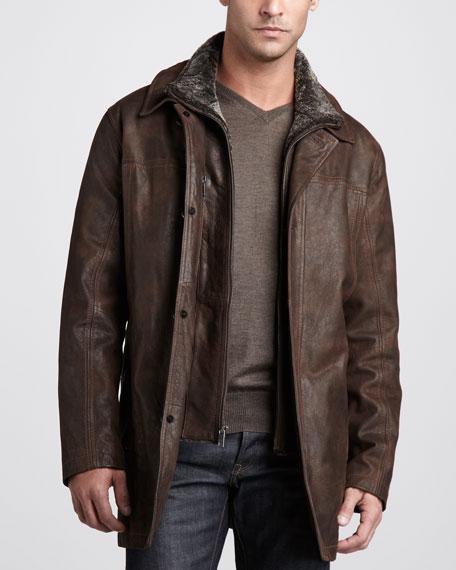 Destino Shearling-Collar Leather Coat