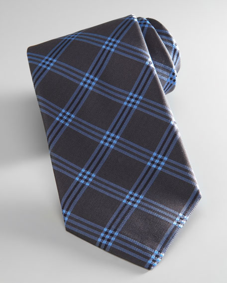 Check Tie, Gray Blue