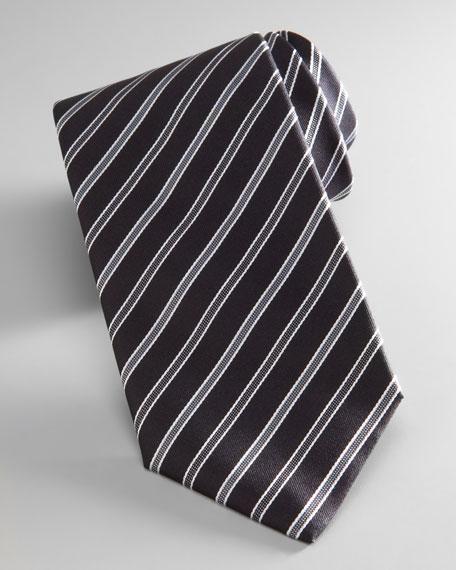 Diagonal Stripe Tie, Black/Gray