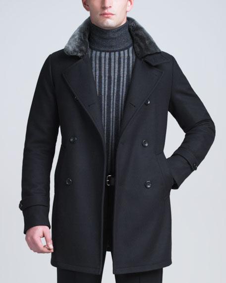 Shearling-Collar Pea Coat