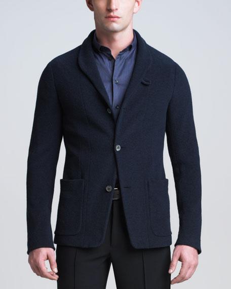 Shawl-Collar Boucle Jacket