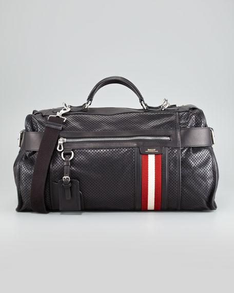Perforated Calfskin Duffel Bag, Black
