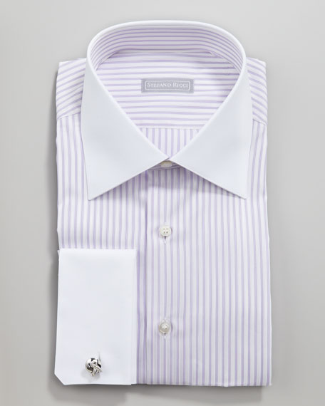 Contrast Collar Striped Button-Down Shirt, Purple/White