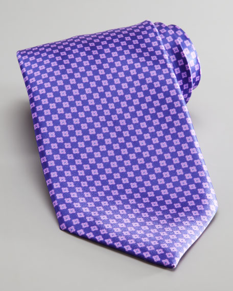 Mini Squares Silk Tie, Purple