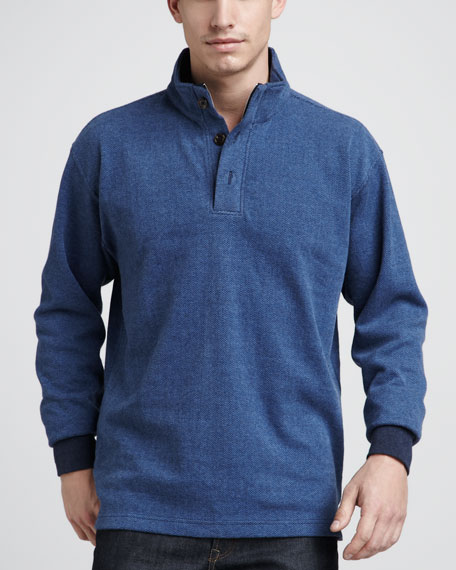 Herringbone Fleece Sweater, Blue