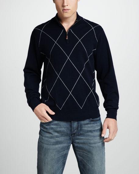 Raker Argyle Zip Sweater, Gray