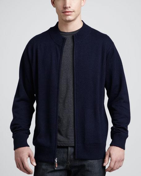 Mock-Collar Zip Sweater